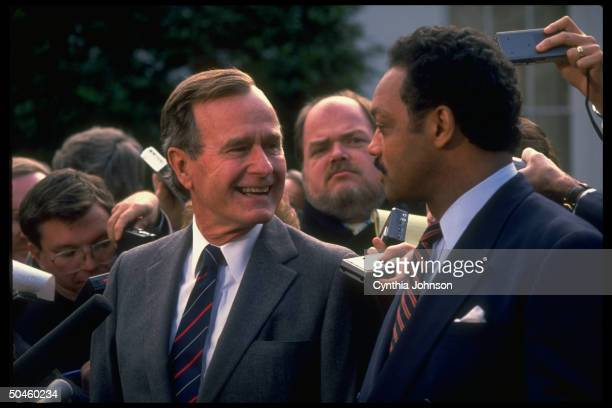 Rev Jesse Jackson w Pres Bush press after luncheon at old EOB