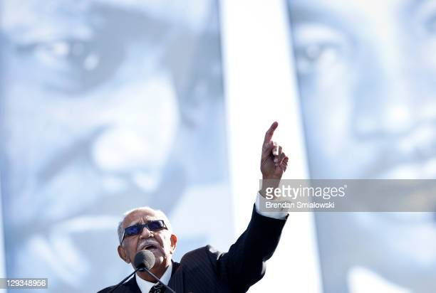 Rev Joe Lowery speaks during a dedication ceremony at the Martin Luther King Memorial on the National Mall October 16 2011 in Washington DC President...