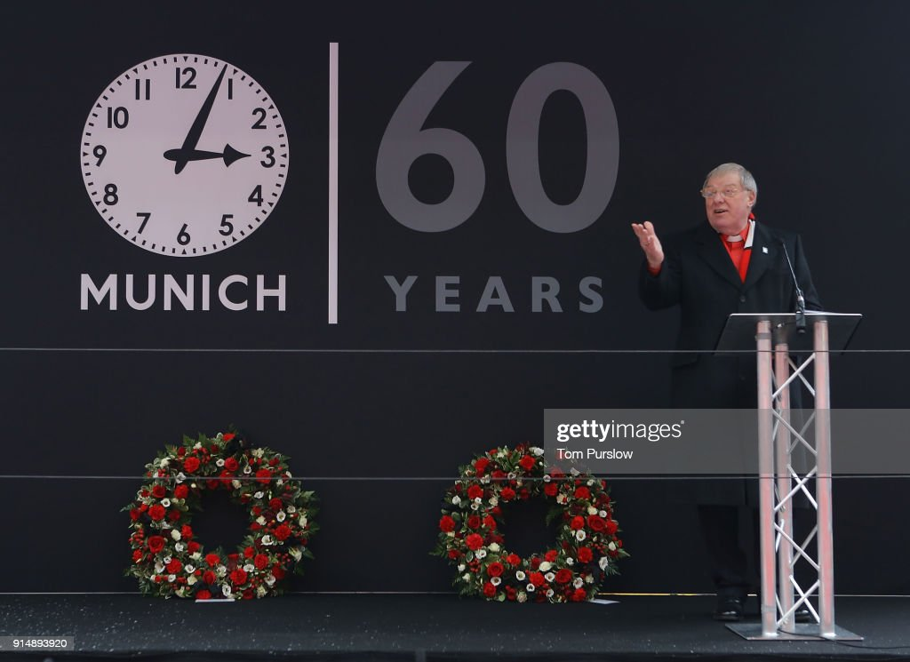 Rev John Boyers conducts a service to commemorate the 60th anniversary of the Munich Air Disaster at Old Trafford on February 6, 2018 in Manchester, England.