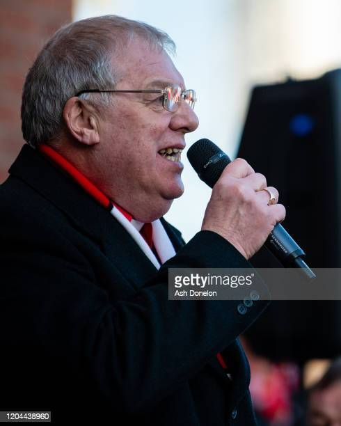 Rev John Boyers of Manchester United speaks at a ceremony to mark the 62nd anniversary of the Munich Air Disaster at Old Trafford on February 06 2020...