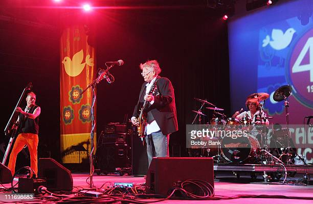 Rev Jones Leslie West and Corky Laing of Mountain performing at the Heros of Woodstock Tour on the 40th anniversary of Woodstock at the Bethel Woods...