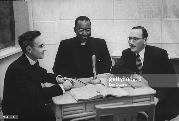 Rev L R Bennett a boycott leader joining Father Michael Caswell and Rabbi Seymour Atlas on radio panel during Alabama bus boycott