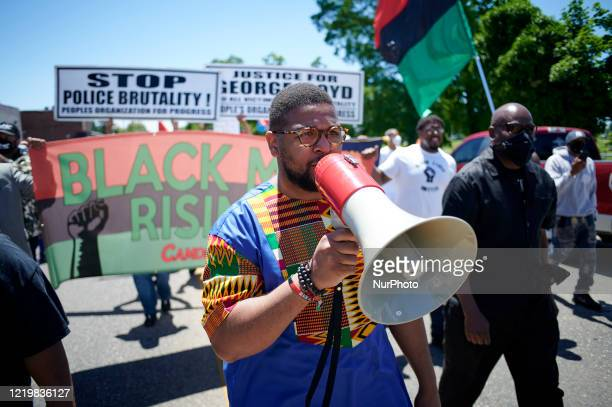 Rev Levi Combs III leads demonstrators in a Black Lives Matter protest march in Camden NJ on June 13 2020 Organized by Black Men Rising the event...