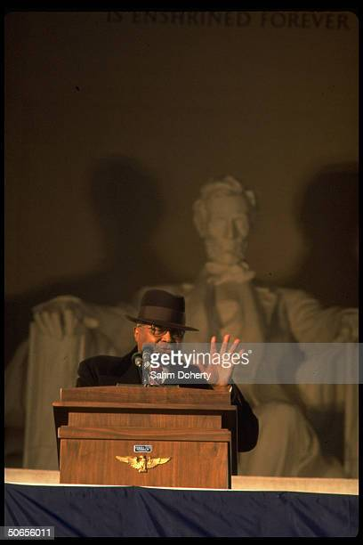 Rev Maritin Luther King Sr speaking during inaugural ceremony of US President Jimmy Carter and Vice President Walter Mondale at the Lincoln Memorial