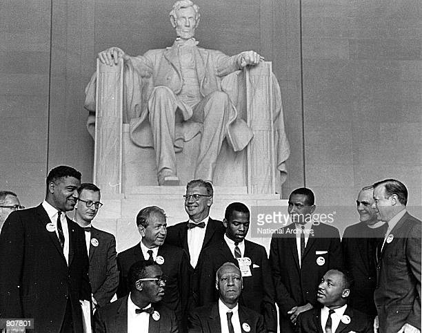 Rev Martin Luther King and other civil rights leaders gather before a rally at the Lincoln Memorial August 28 1963 in Washington