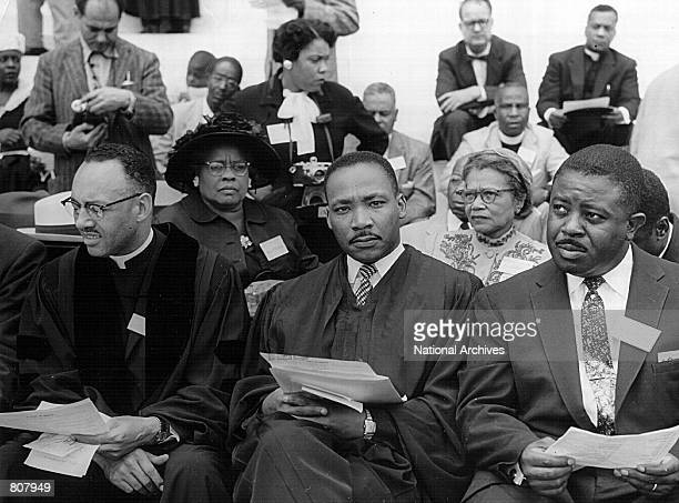 Rev Martin Luther King attends a prayer pilgrimage for freedom May 17 1957 in Washington