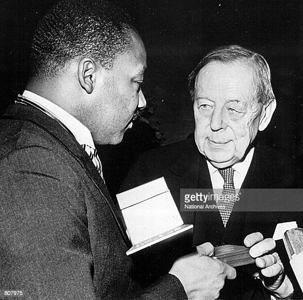 Rev Martin Luther King receives the Nobel Prize for Peace in 1964
