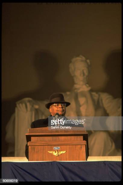 Rev Martin Luther King Sr speaking during inaugural ceremony of US President Jimmy Carter and Vice President Walter Mondale at the Lincoln Memorial