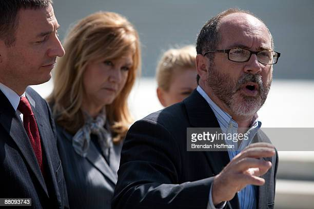 Rev Patrick Mahoney of the Christian Defense Coalition with other abortion opponents speaks at a news conference outside the US Supreme Court to...