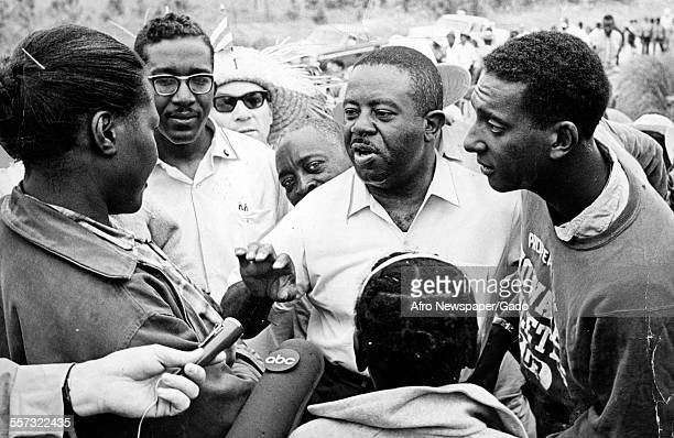Rev Ralph Abernathy Treasurer of Southern Christian Leadership Conference and Stokely Carmichael Chairman of Student Nonviolent Coordinating...