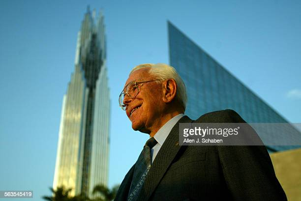 Rev. Robert H. Schuller surrounded by the buildings at the Crystal Cathedral Compound in Garden Grove, Thursday May 15, 2003. Schuller gave a tour to...