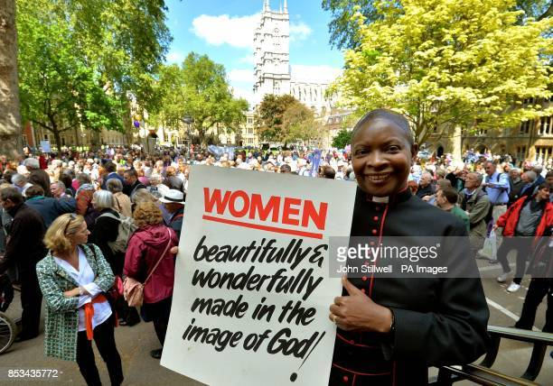Rev Rose HudsonWilkin Chaplain to the Speaker of the House of Commons and a parish priest in Hackney east London in the procession from Westminster...