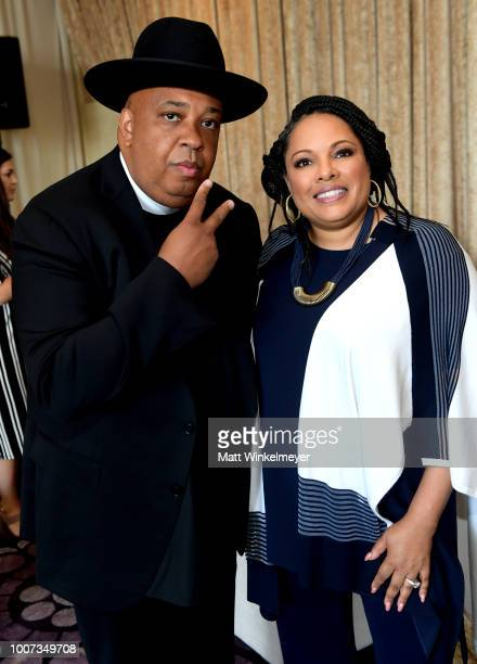 Rev Run and Justine Simmons attend Netflix TCA 2018 at The Beverly Hilton Hotel on July 29 2018 in Beverly Hills California