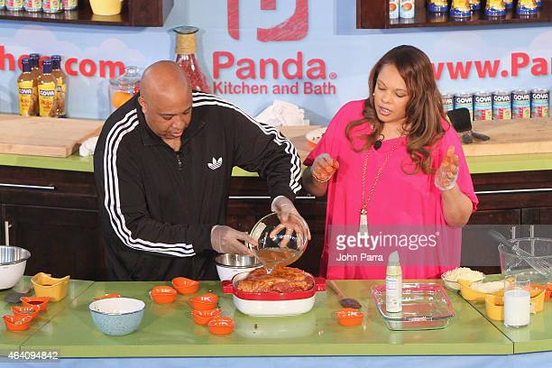 Rev Run and Justine Simmons prepare food at Fun and Fit as a Family sponsored by Carnival featuring Goya Kidz Kitchen during the 2015 Food Network...