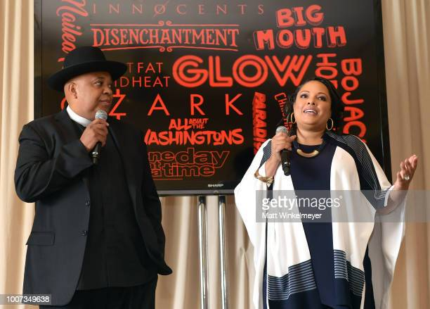 Rev Run and Justine Simmons speak onstage during Netflix TCA 2018 at The Beverly Hilton Hotel on July 29 2018 in Beverly Hills California