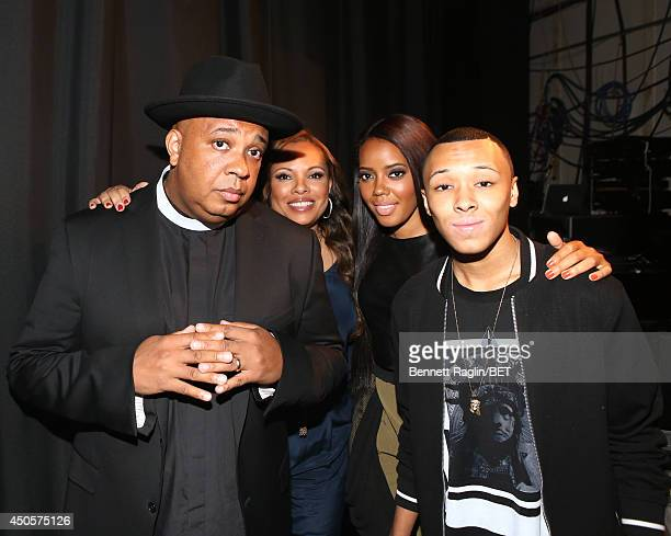 Rev Run Justine Simmons Angela Simmons and Russell Simmons III visit 106 Park at BET studio on June 11 2014 in New York City