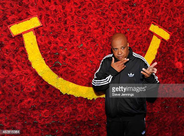 Rev Run of hiphop group RunDMC poses in front of McDonald's signage at McDonald's 'Get Happy' event at the 2014 BlogHer Conference on July 26 2014 in...