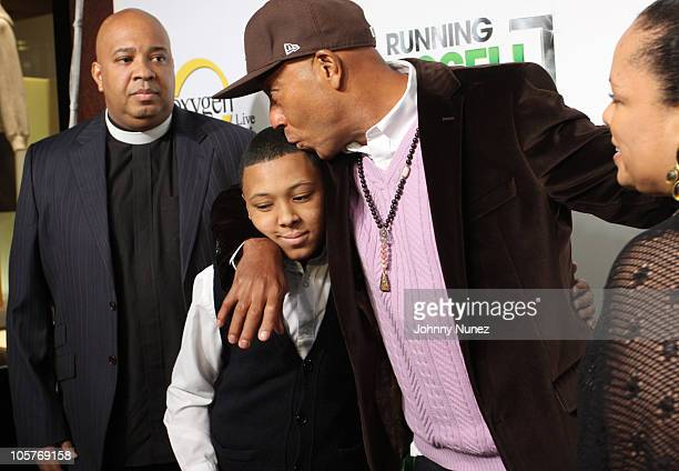 Rev Run Russy Simmons Russell Simmons and Justine Simmons attend the launch party for Running Russell Simmons at Lavo on October 19 2010 in New York...