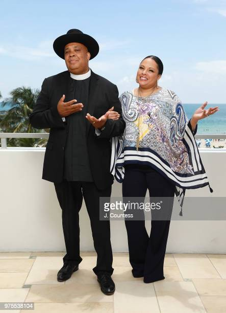Rev Run Simmons and Justine Simmons pose for a portrait during the 22nd Annual American Black Film Festival at the Loews Miami Beach Hotel on June 15...