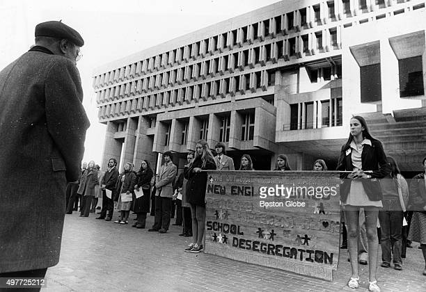 Rev Vernon Carter left observes the March for Peaceful Desegregation in City Hall Plaza in Boston on Nov 10 1974 An initiative to desegregate Boston...