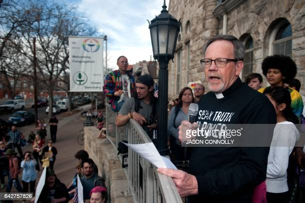 Rev Wayne Laws of the Mountain Views United Church speaks to supporters gathered outside the First Unitarian Church to stand in solidarity with...