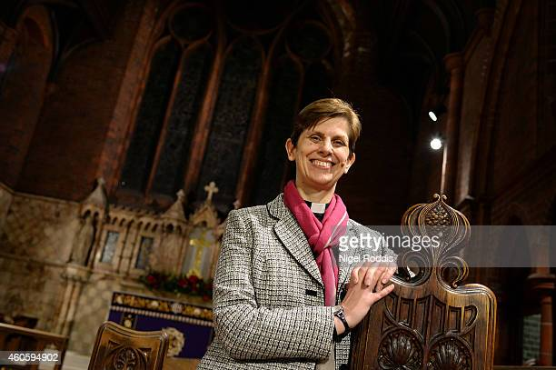 Revd Libby Lane smiles during a visit St Peter's Church where she has been a vicar since 2007 on December 17 2014 in Hale England It has been...
