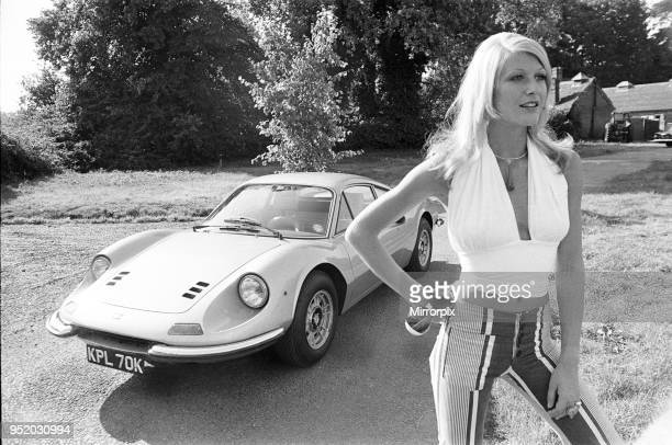 Reveille model Heidi seen here posing with a Ferrari Dino GT which is NOT A top prize in the Reveille win a car competition circa 1972.