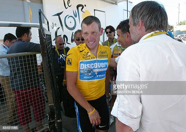 Picture shows US Lance Armstrong leaving after he underwent the antidoping control at the end of the 17th stage of the 92nd Tour de France cycling...