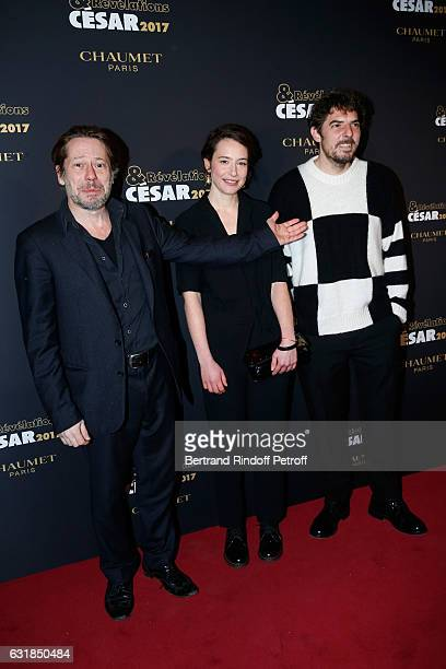Revelation for 'Baden Baden' Salome Richard standing between the Revelation for 'Rester vertical' Damien Bonnard and his sponsor Mathieu Amalric...
