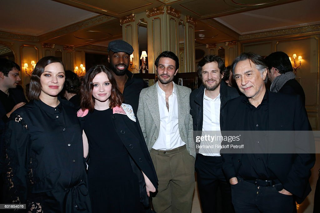 Revelation for 'Bang Gang...', Marilyn Lima and her sponsor Marion Cotillard, pregnant, Revelation for 'Tout, tout de suite', Marc Ruchmann and his sponsor Guillaume Canet, Revelation for 'Tout, tout de suite', Steve Achiepo and his director Richard Berry attend the 'Cesar - Revelations 2017' Dinner at Hotel Meurice on January 16, 2017 in Paris, France.