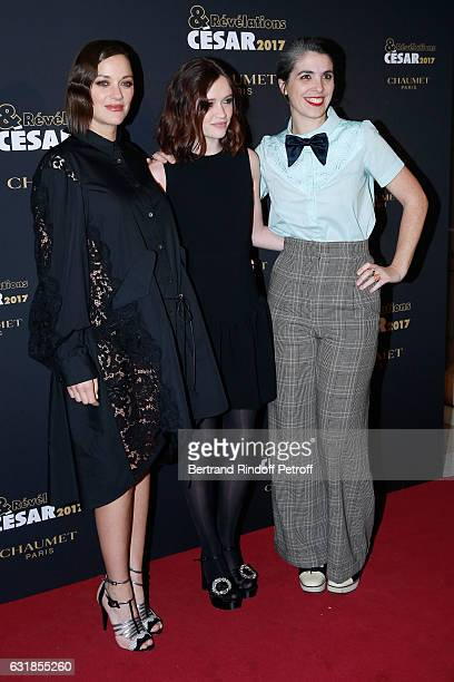 Revelation for Bang Gang Marilyn Lima dressed in Miu Miu standing between her sponsor Marion Cotillard pregnant and her director Eva Husson attend...