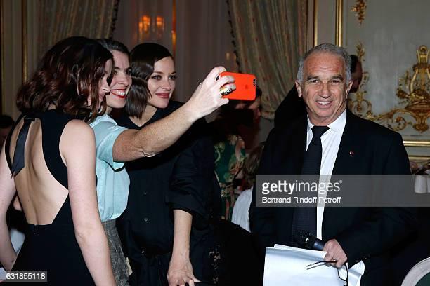 Revelation for 'Bang Gang' Marilyn Lima her director Eva Husson her sponsor Marion Cotillard and President of Academy des Cesars Alain Terzian attend...