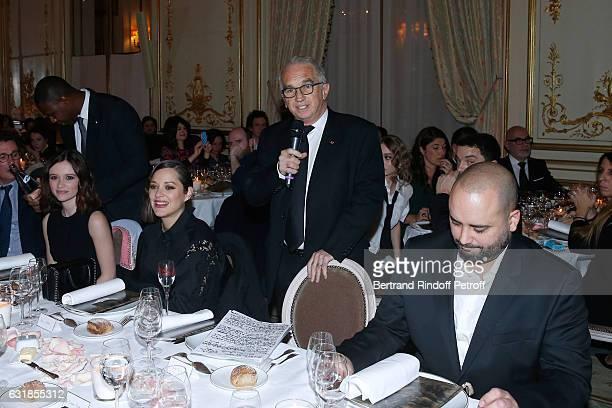 Revelation for 'Bang Gang' Marilyn Lima her sponsor Marion Cotillard President of Academy des Cesars Alain Terzian and Jerome Commandeur attend the...