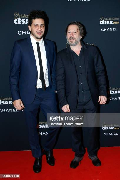 Revelation for 'Carbone' Idir Chender and his sponsor Mathieu Amalric attend the 'Cesar Revelations 2018' Party at Le Petit Palais on January 15 2018...