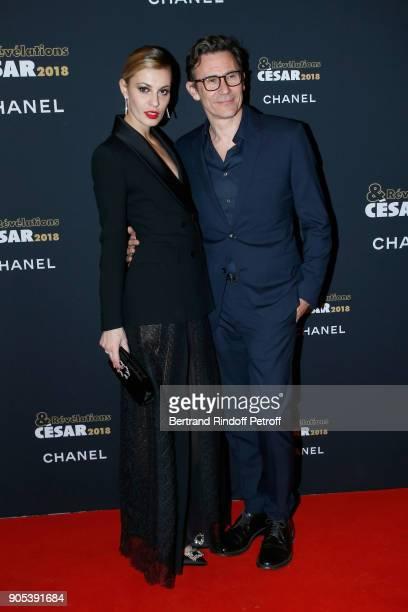 Revelation for 'Dalida' Sveva Alviti and her sponsor Michel Hazanavicius attend the 'Cesar Revelations 2018' Party at Le Petit Palais on January 15...