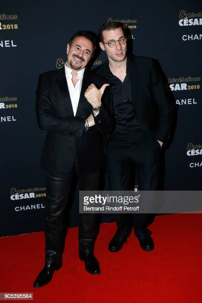 Revelation for 'Especes menacees' Damien Chapelle and his sponsor Jose Garcia attend the 'Cesar Revelations 2018' Party at Le Petit Palais on January...