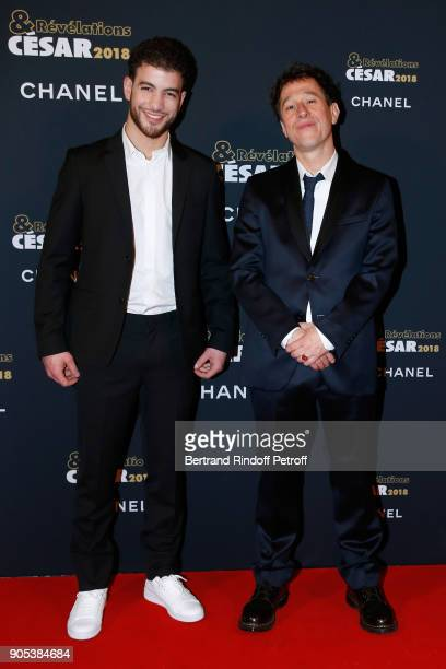 Revelation for 'Grave' Rabah Nait Oufella and his sponsor Bertrand Bonello attend the 'Cesar Revelations 2018' Party at Le Petit Palais on January 15...