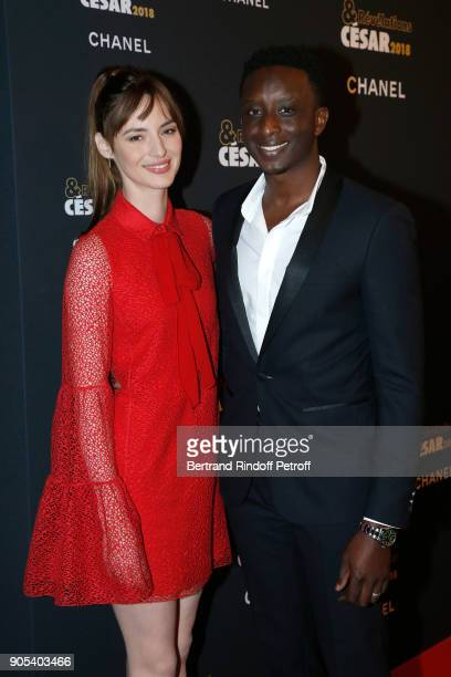 Revelation for L'Ascension Ahmed Sylla and his sponsor Louise Bourgoin attend the 'Cesar Revelations 2018' Party at Le Petit Palais on January 15...