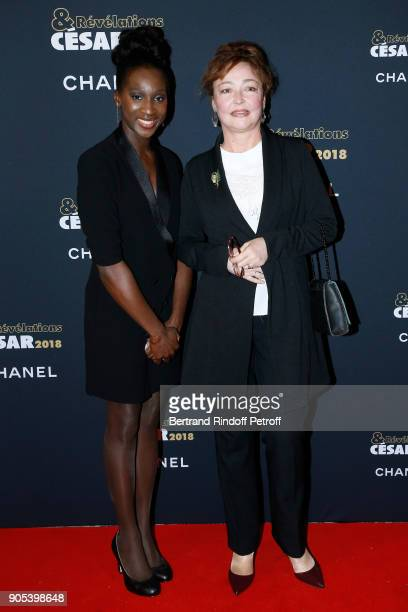 Revelation for Le sens de la fete Eye Haidara and her sponsor Catherine Frot attend the 'Cesar Revelations 2018' Party at Le Petit Palais on January...