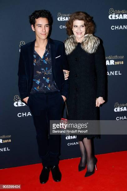 Revelation for 'Les Bienheureux' Adam Bessa and his sponsor Fanny Ardant attend the 'Cesar Revelations 2018' Party at Le Petit Palais on January 15...