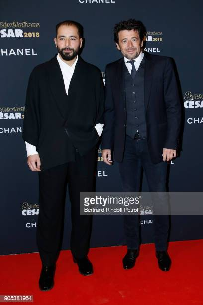 Revelation for 'M' Redouanne Harjane and his sponsor Patrick Bruel attend the 'Cesar Revelations 2018' Party at Le Petit Palais on January 15 2018 in...