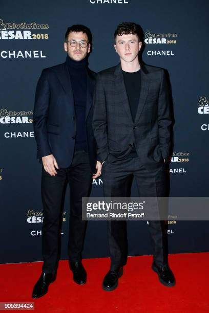 Revelation for Marvin ou la belle education Finnegan Oldfield and his sponsor Gaspard Ulliel attend the 'Cesar Revelations 2018' Party at Le Petit...