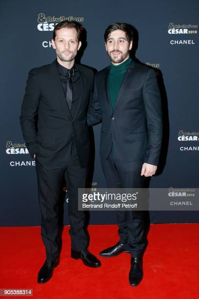 Revelation for 'Noces' Sebastien Houbani and his sponsor Nicolas Duvauchelle attend the 'Cesar Revelations 2018' Party at Le Petit Palais on January...