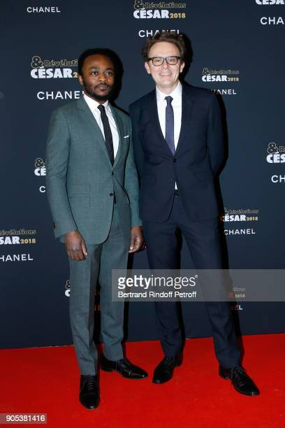 Revelation for 'Nos Patriotes' Marc Zinga and his director in the movie Gabriel le Bomin attend the 'Cesar Revelations 2018' Party at Le Petit Palais...