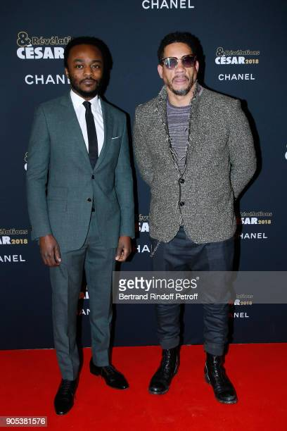 Revelation for 'Nos Patriotes' Marc Zinga and his sponsor JoeyStarr aka Didier Morville attend the 'Cesar Revelations 2018' Party at Le Petit Palais...