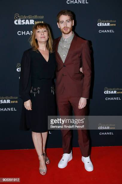 Revelation for 'Patients' Pablo Pauly and his sponsor Emmanuelle Bercot attend the 'Cesar Revelations 2018' Party at Le Petit Palais on January 15...