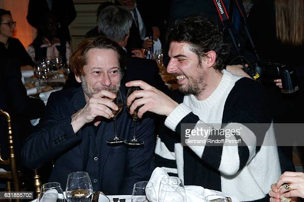 Revelation for 'Rester vertical' Damien Bonnard and his sponsor Mathieu Amalric attend the 'Cesar Revelations 2017' Dinner at Hotel Meurice on...