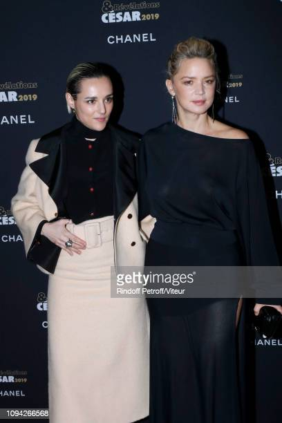 Revelation for 'Un amour impossible' Jehnny Beth dressed in Gucci and her sponsor Virginie Efira attend the 'Cesar Revelations 2019' at Le Petit...