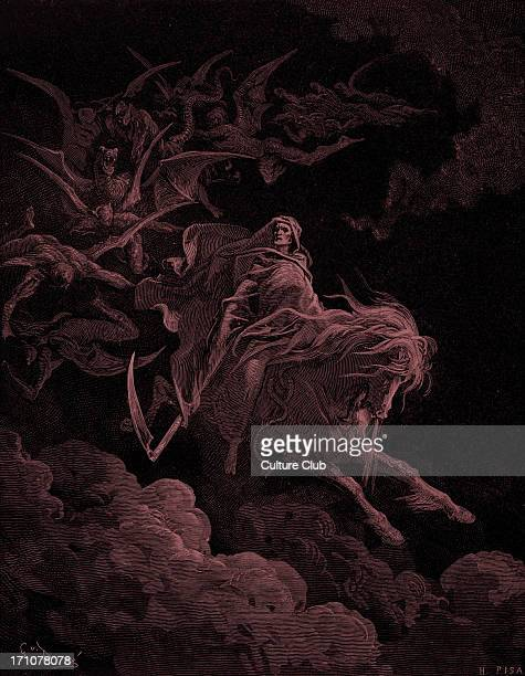 Vision of Death engraving by Gustave Doré Death rides through the sky on a pale horse 'And I looked and behold a pale horse and his name that sat on...