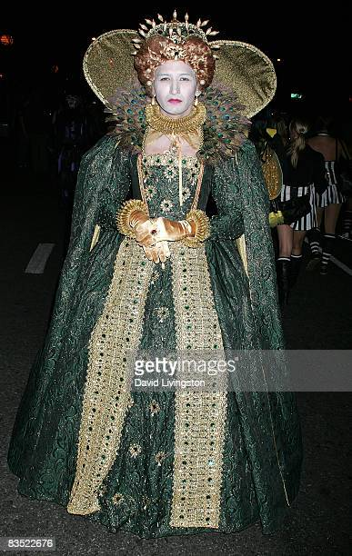 A reveler attends the West Hollywood Halloween Carnaval along Santa Monica Boulevard on October 31 2008 in West Hollywood California